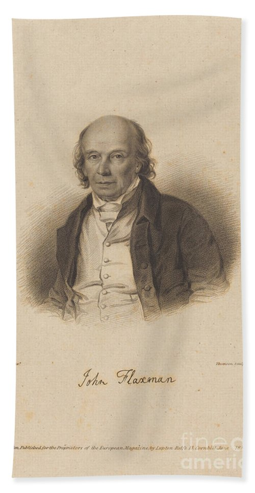 Hand Towel featuring the drawing John Flaxman by James Thomson After William Derby