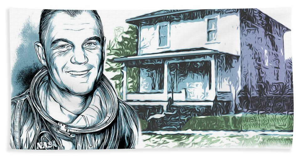 John Glenn Bath Towel featuring the drawing John Glenn Birthplace by Greg Joens