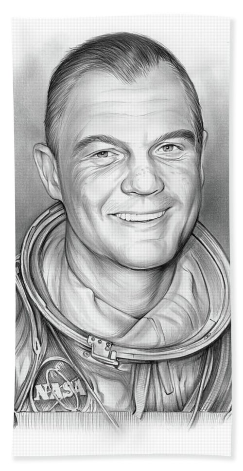 John Glenn Bath Towel featuring the drawing John Glenn - Bw by Greg Joens