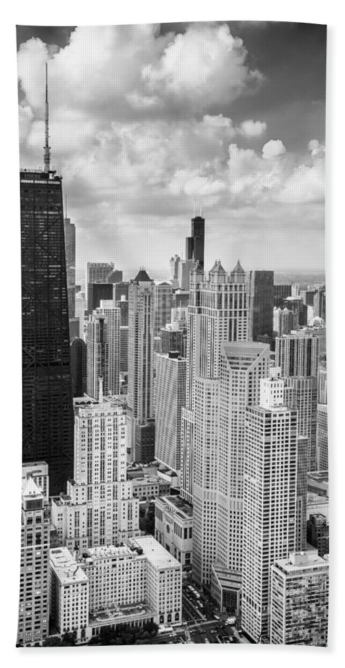 3scape Bath Towel featuring the photograph John Hancock Building in the Gold Coast Black and White by Adam Romanowicz