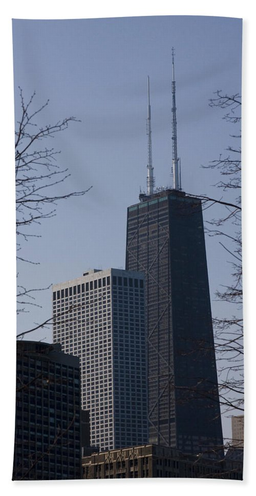 John Hancock Center Building Tower Chicago Windy City Tall Skyscraper High Urban Metro Hand Towel featuring the photograph John Hancock Center by Andrei Shliakhau