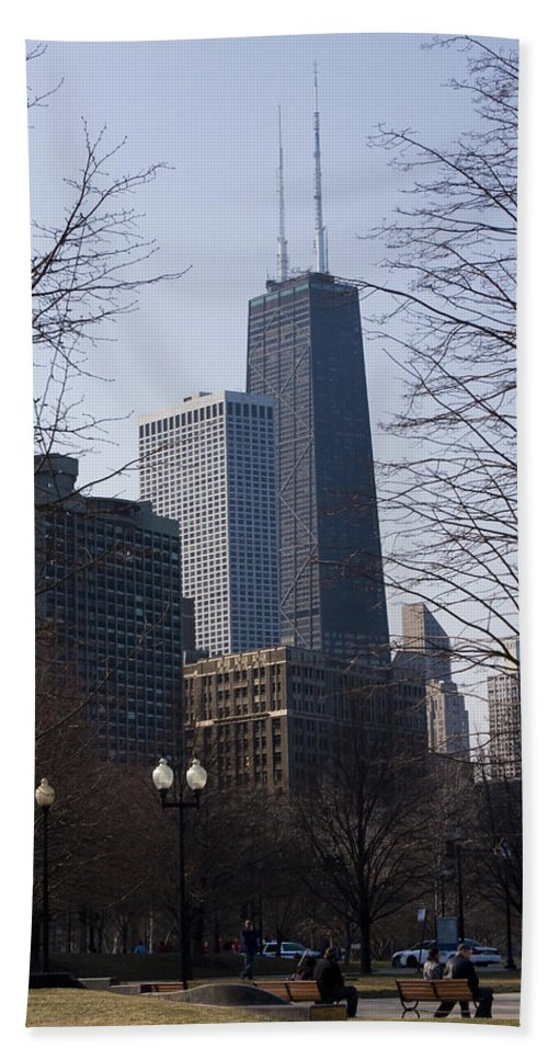 John Hancock Center Building Skyscraper Chicago Windy City Urban Metro Tall High Big Park Hand Towel featuring the photograph John Hancock Center II by Andrei Shliakhau