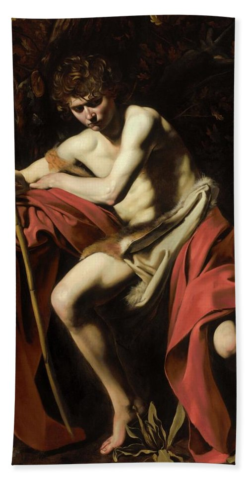 Italian Bath Sheet featuring the painting John In The Wilderness by Michelangelo Caravaggio