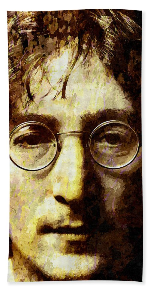 John Lennon Hand Towel featuring the mixed media John Lennon by Stacey Chiew