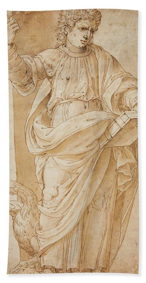 Ottavio Semino Bath Sheet featuring the painting John The Baptist by Ottavio Semino
