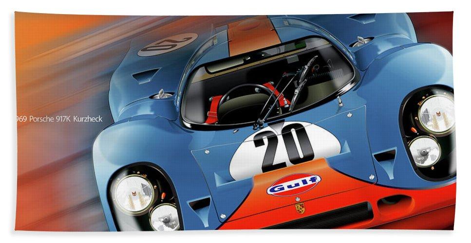 John Wyer's Gulf Porsche 917 Bath Towel featuring the digital art John Wyer's Gulf Porsche 917 by Alain Jamar