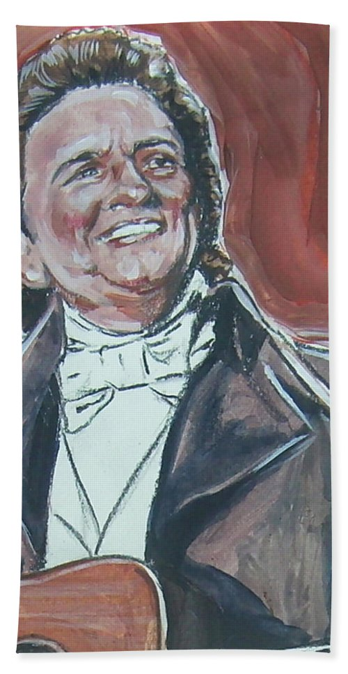 Johnny Cash Hand Towel featuring the painting Johnny Cash by Bryan Bustard