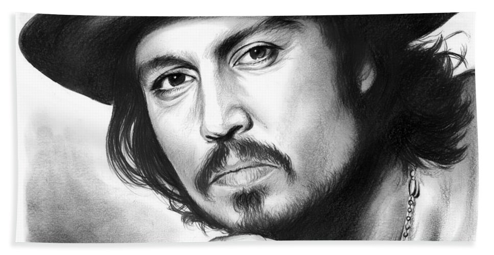 Johnny Depp Hand Towel featuring the drawing Johnny Depp by Greg Joens