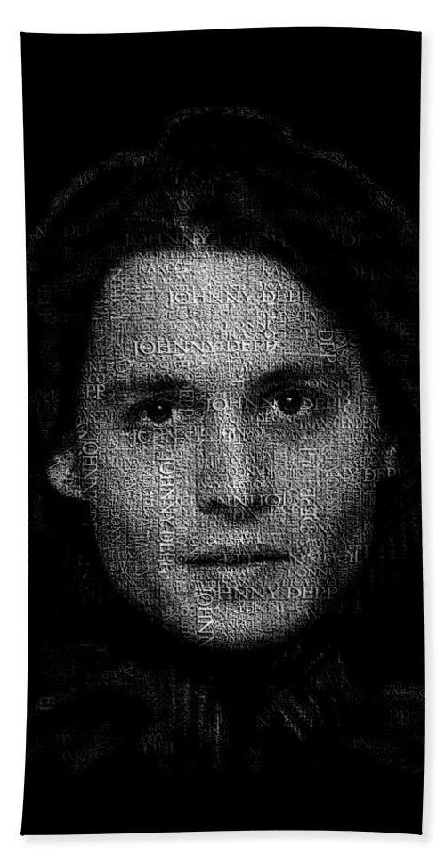 Johnny Bath Sheet featuring the digital art Johnny Depp Typography by Jurq Studio