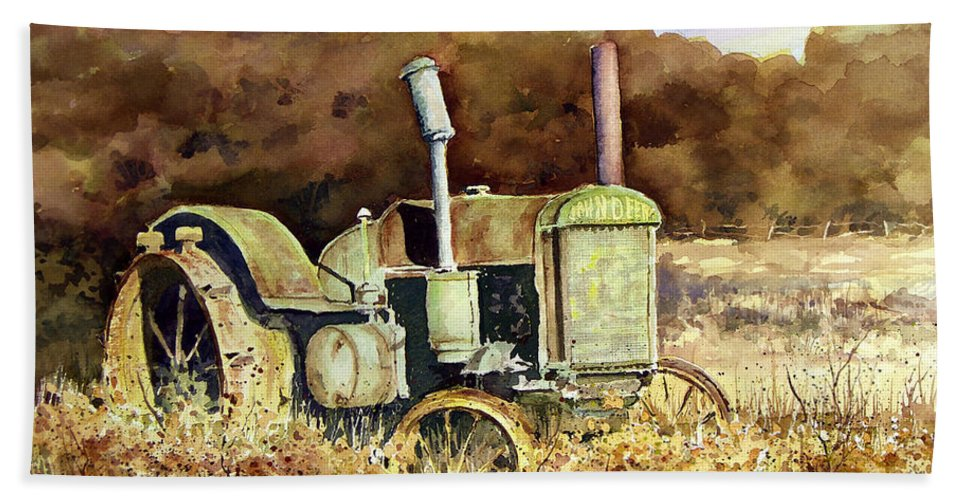 Tractor Bath Towel featuring the painting Johnny Popper by Sam Sidders