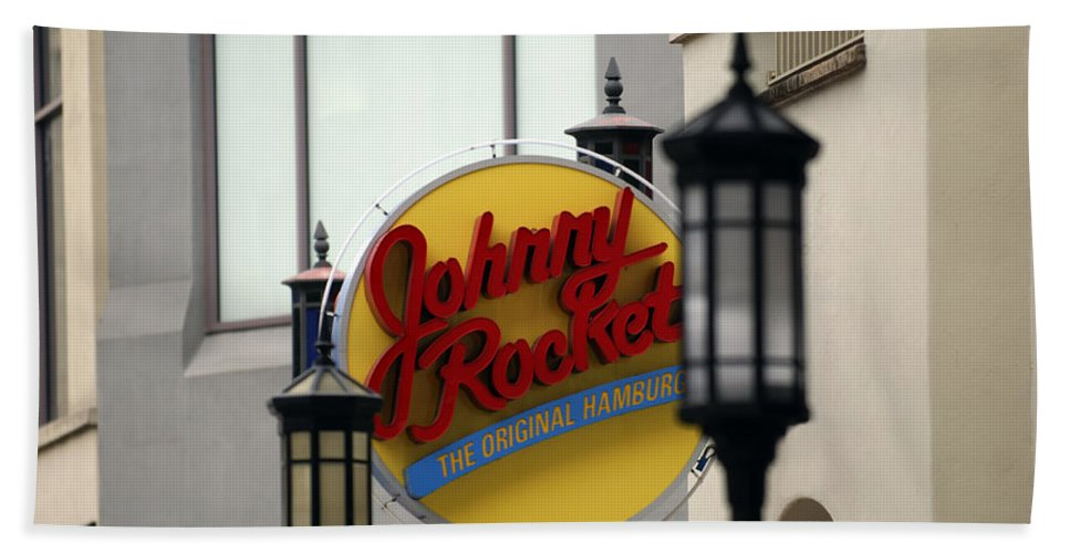 Sign Bath Sheet featuring the photograph Johnny Rocket Signage by Jill Reger