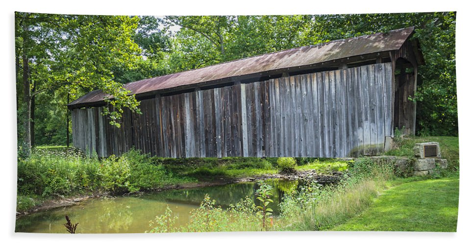 America Hand Towel featuring the photograph Johnson's Mill/salt Creek Covered Bridge by Jack R Perry