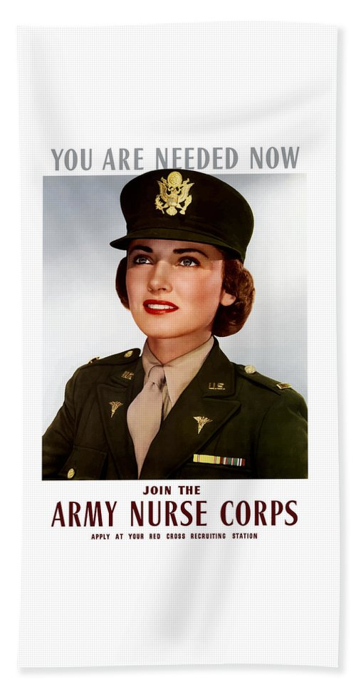 Nursing Hand Towel featuring the painting Join The Army Nurse Corps by War Is Hell Store
