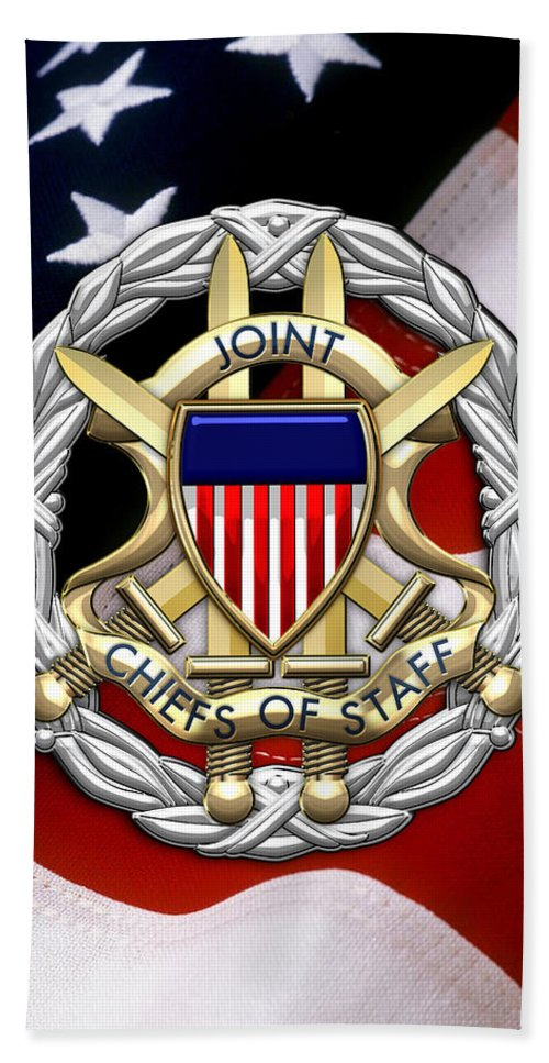 'military Insignia & Heraldry 3d' Collection By Serge Averbukh Hand Towel featuring the digital art Joint Chiefs Of Staff - J C S Identification Badge Over U. S. Flag by Serge Averbukh