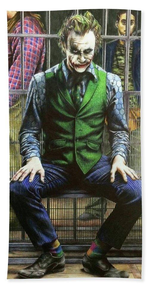 Joker Hand Towel featuring the drawing Joker by Carola Moreno