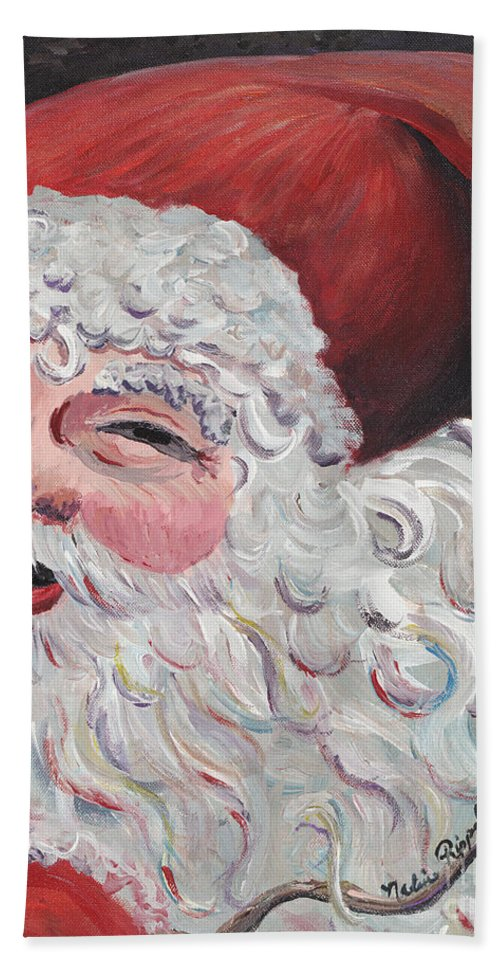 Santa Hand Towel featuring the painting Jolly Santa by Nadine Rippelmeyer