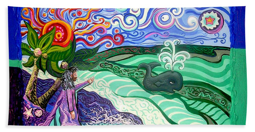 Jonah And The Whale Hand Towel featuring the painting Jonah And The Whale by Genevieve Esson