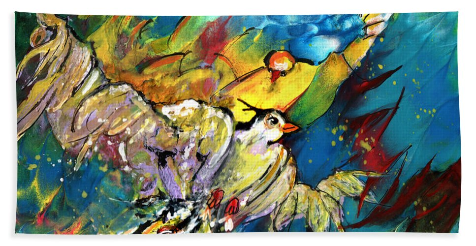 Bird Hand Towel featuring the painting Jonathan Livingstone Seagull by Miki De Goodaboom