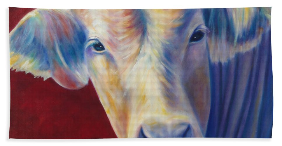 Bull Bath Towel featuring the painting Jorge by Shannon Grissom