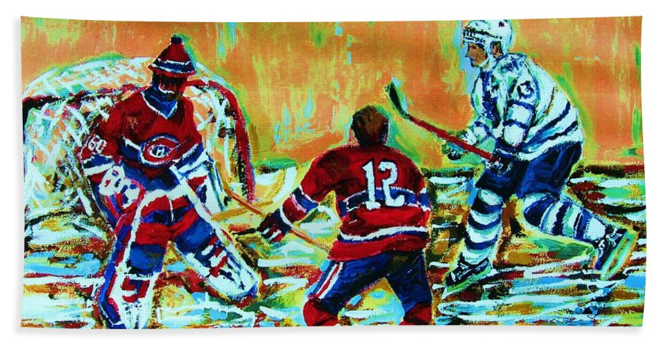 Hockey Canvas Prints Hand Towel featuring the painting Jose Theodore The Goalkeeper by Carole Spandau