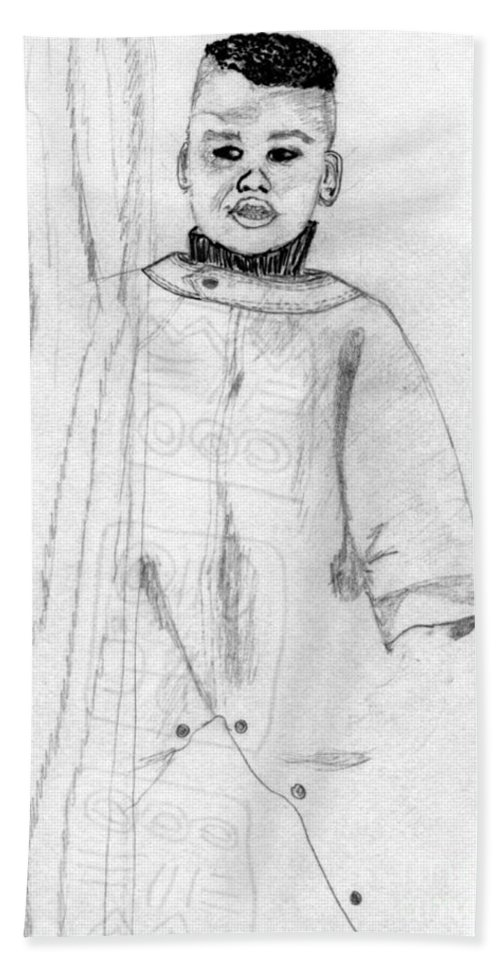 Baby Bath Sheet featuring the drawing Joshua At 18 Months by Angela L Walker