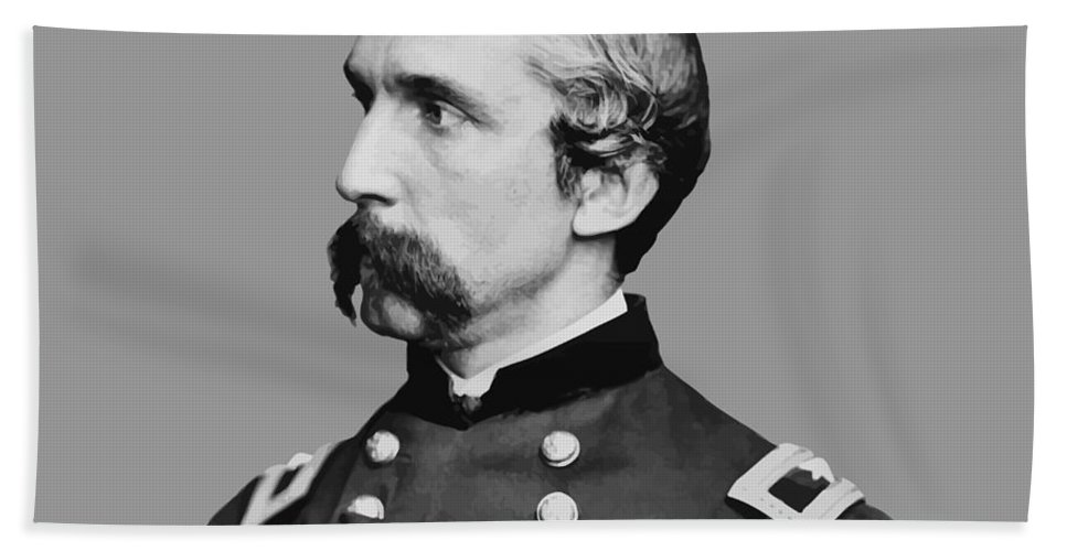 General Chamberlain Hand Towel featuring the painting Joshua Lawrence Chamberlain by War Is Hell Store