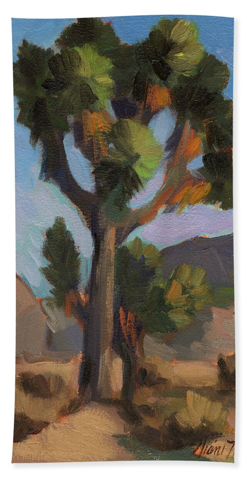 Joshua Tree Hand Towel featuring the painting Joshua Tree 2 by Diane McClary