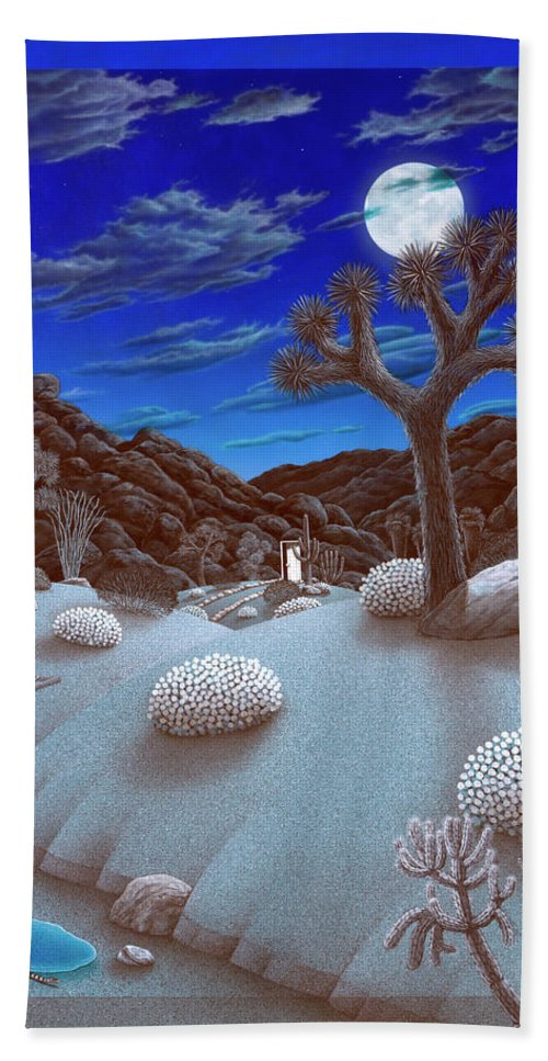 Landscape Bath Towel featuring the painting Joshua Tree At Night by Snake Jagger