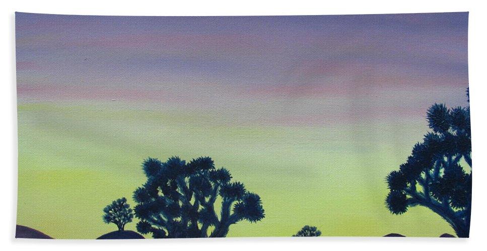 Joshua Tree Desert Landscape Canvas Prints California Desert Sunset Canvas Prints Desert Oil Painting Prints Bath Sheet featuring the painting Joshua Tree Sunset by Joshua Bales