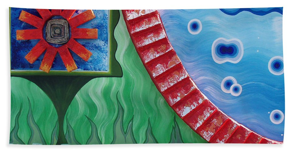 Journey Of Life Bath Sheet featuring the painting Journey Of Life by Catt Kyriacou