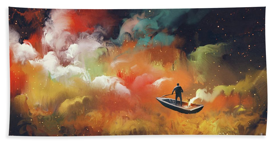 Art Hand Towel featuring the painting Journey To Outer Space by Tithi Luadthong