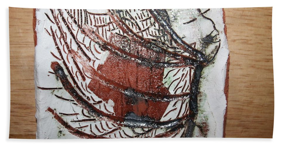 Jesus Hand Towel featuring the ceramic art Journeys 13 - Tile by Gloria Ssali