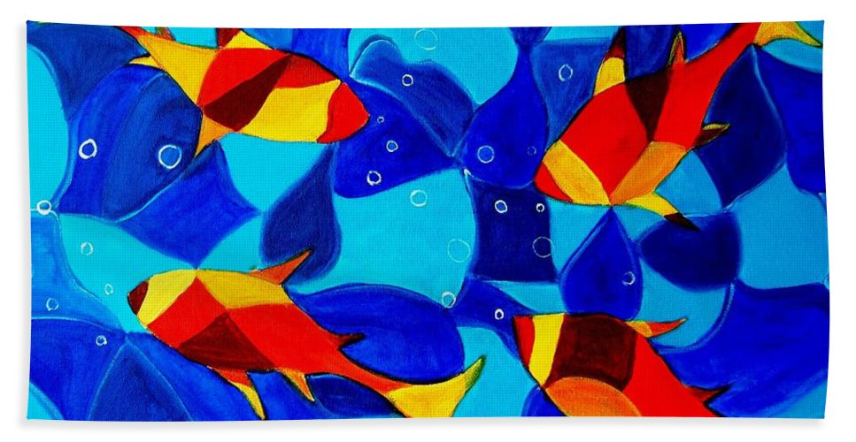 Abstract.acrylic.fish.bubbles.art.painting.modern.contemporary.popblue Red Bubbles Yellow Landscape Hand Towel featuring the painting Joy Fish Abstract by Manjiri Kanvinde