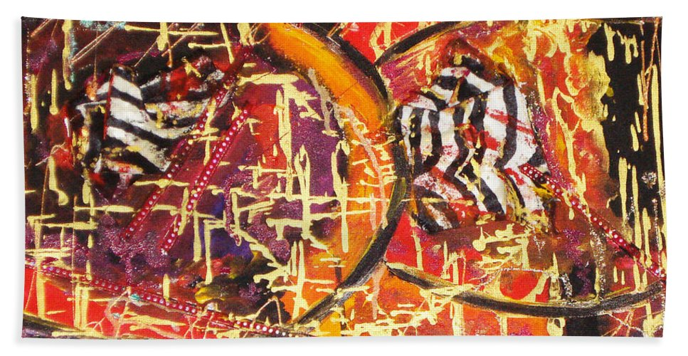 Acrylic Abstract Bath Sheet featuring the painting Joy Of Life by Yael VanGruber