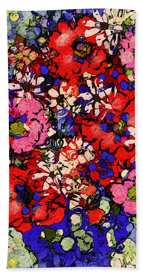 Floral Abstract Bath Towel featuring the painting Joyful Flowers by Natalie Holland