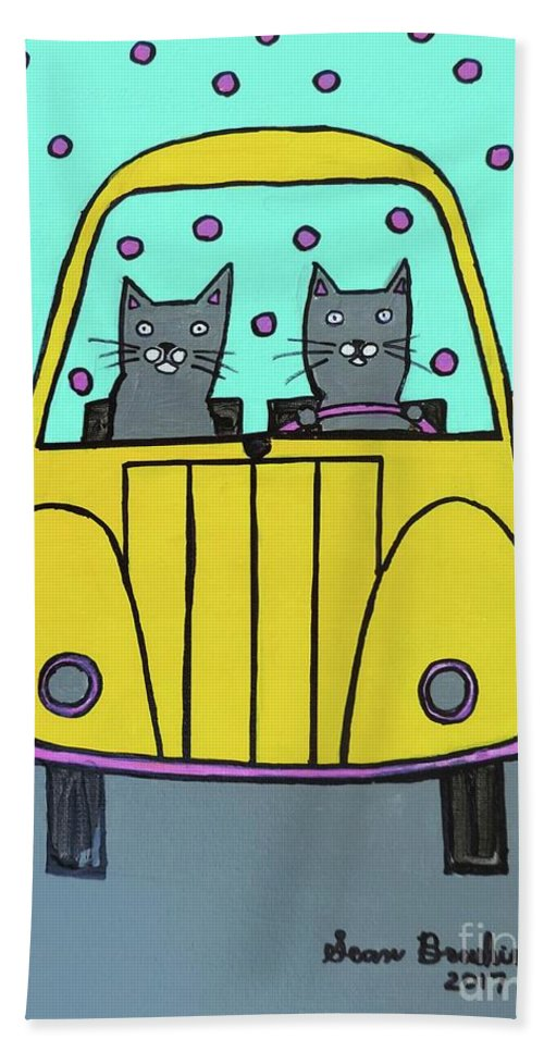Cats Hand Towel featuring the painting Joyride by Sean Brushingham