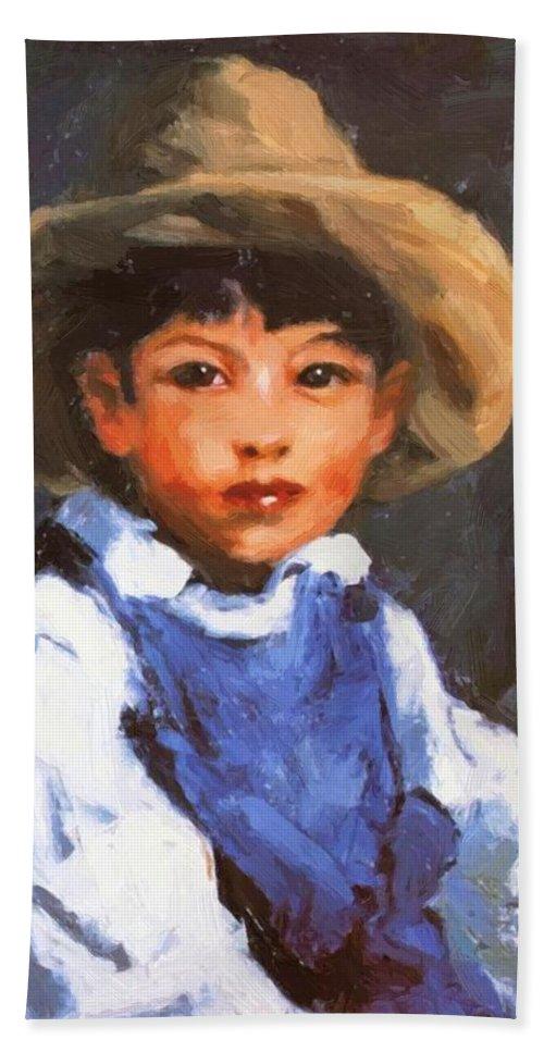 Juan Bath Sheet featuring the painting Juan Also Known As Jose No 2 Mexican Boy 1916 by Henri Robert