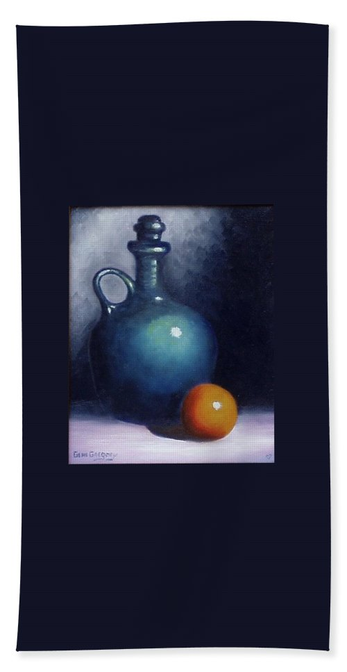 Still Life. Bath Towel featuring the painting Jug And Orange. by Gene Gregory