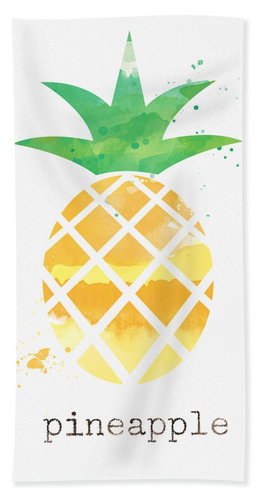 Pineapple Hand Towel featuring the painting Juicy Pineapple by Linda Woods