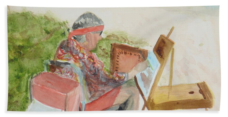 Painter Hand Towel featuring the painting Julia Painting At Boynton Inlet Beach by Donna Walsh