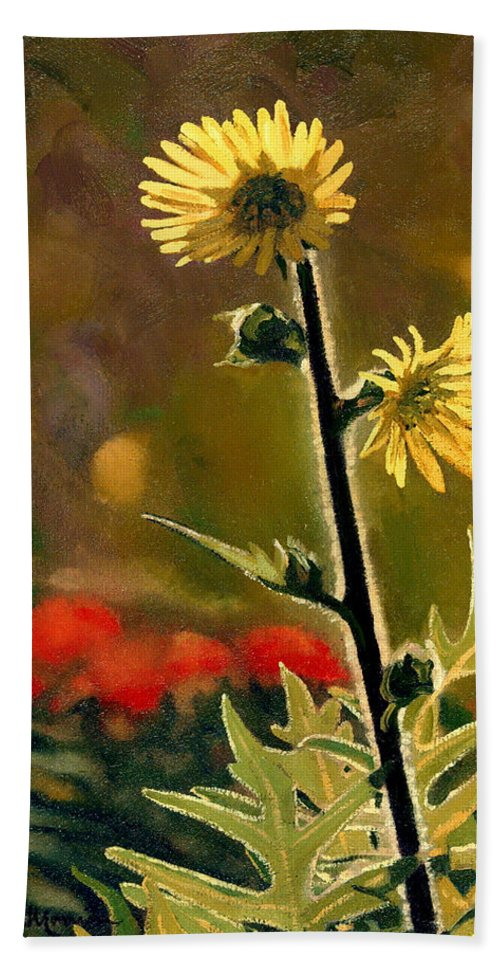 Prairie Flowers Bath Towel featuring the painting July Afternoon-Compass Plant by Bruce Morrison
