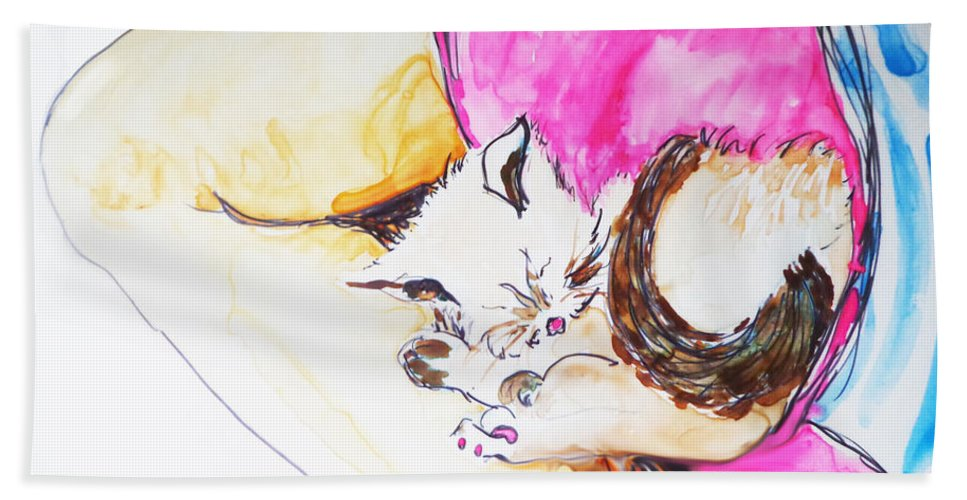 Watercolor Kitten Bath Sheet featuring the painting July Kitty In Rachaels Lap by CheyAnne Sexton