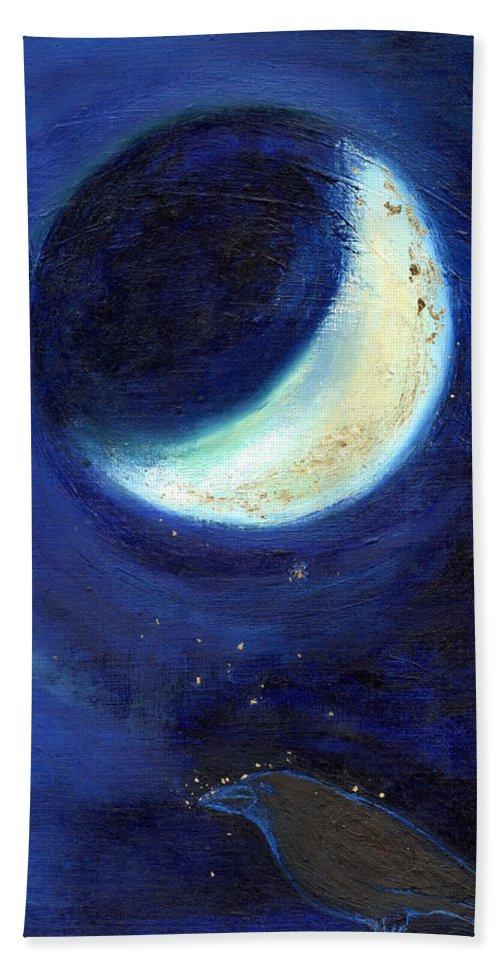 Moon Bath Sheet featuring the painting July Moon by Nancy Moniz