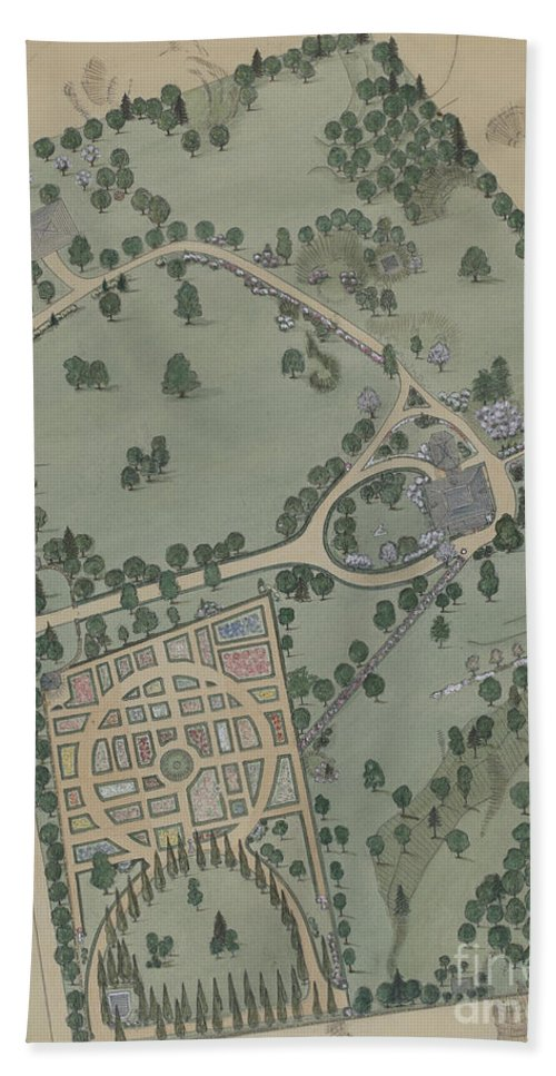 Hand Towel featuring the drawing Jumel Estate by Virginia Richards
