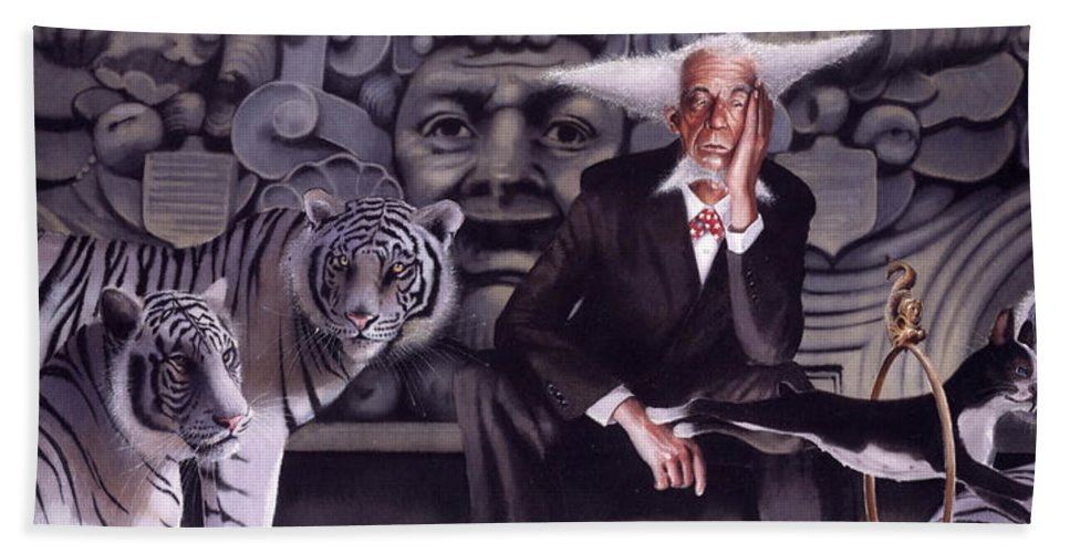 Tigers Hand Towel featuring the painting Jumping The Hoop by Denny Bond