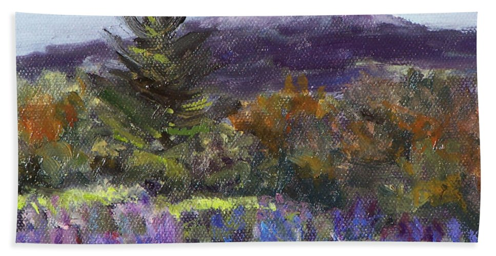 Original Oil Bath Towel featuring the painting June Carpet by Alicia Drakiotes