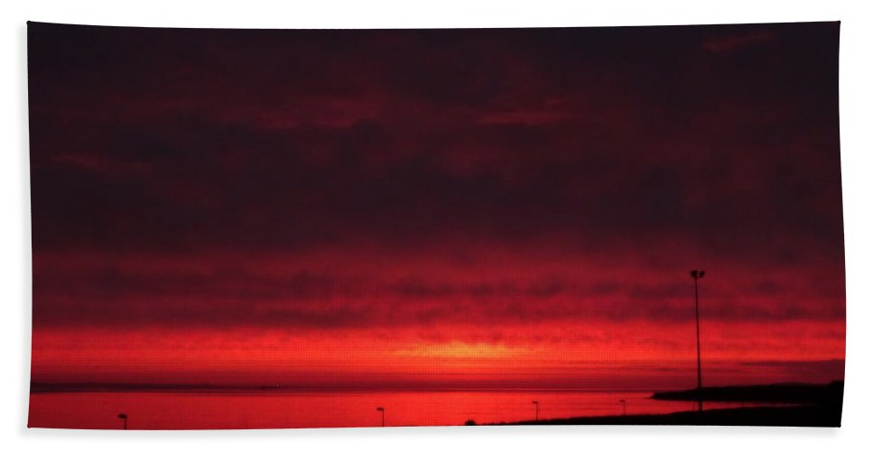 Nature Bath Sheet featuring the photograph June's Pink Sunrise 2017 I by Nicola Graham