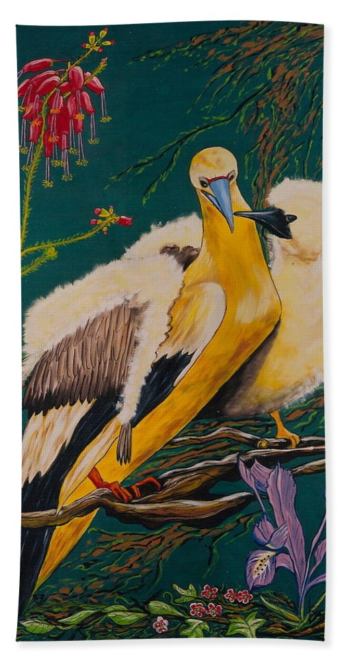 Birds Bath Towel featuring the painting Jungle Baby by V Boge