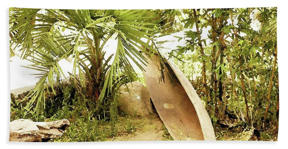 Jungle Canoe Bath Sheet featuring the digital art Jungle Canoe by Ronald Irwin