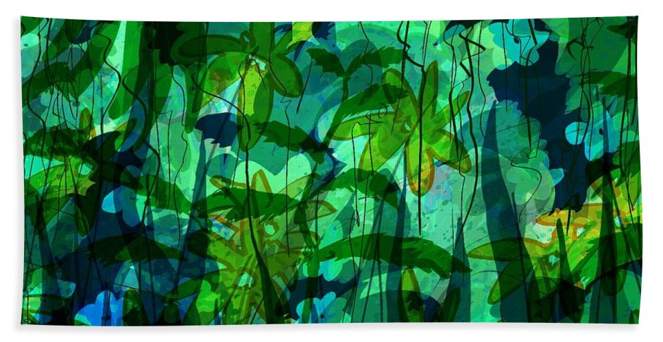 Abstract Bath Sheet featuring the digital art Jungle Colors by Rachel Christine Nowicki